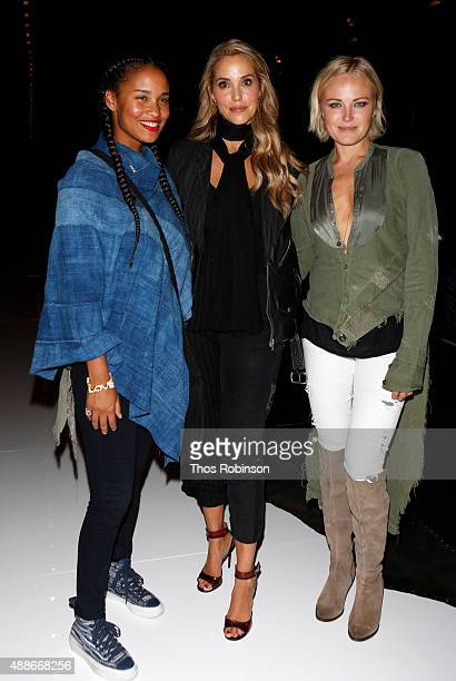 Joy Bryant Elizabeth Lauren and guest attend Greg Lauren front row Spring 2016 during New York Fashion Week The Shows at The Dock Skylight at...