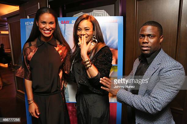 Joy Bryant Regina Hall and Kevin Hart attend the 'About Last Night' screening dinner on February 3 2014 in New York City