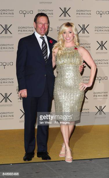 Joy Canfield and Richard Desmond arriving at a party to celebrate the UK launch of the Kardashian Kollection at Aqua London