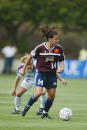 Joy Fawcett of the San Diego Spirit races against Cindy Parlow of the Atlanta Beat during the WUSA game on June 1 2002 at Torero Stadium in San Diego...