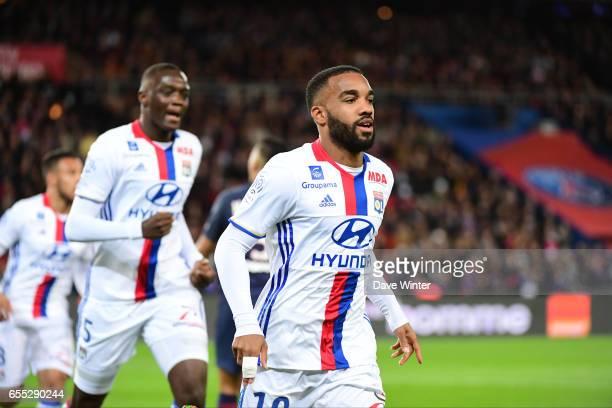 Joy for Alexandre Lacazette of Lyon as he puts his side 10 aheadduring the French Ligue 1 match between Paris Saint Germain and Lyon at Parc des...