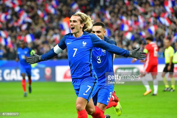 Joy for Antoine Griezmann of France as he puts his side 10 ahead during the international friendly match between France and Wales at Stade de France...