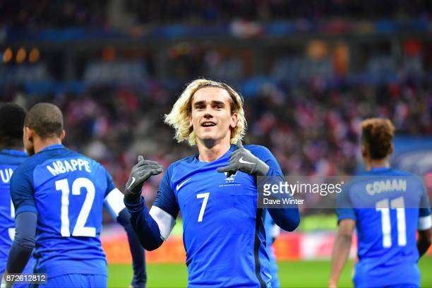 Joy for Antoine Griezmann of France as he volleys his side 10 ahead during the international friendly match between France and Wales at Stade de...
