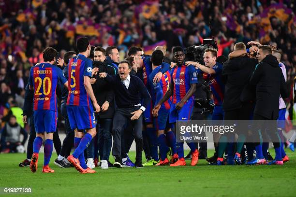 Joy for Barcelona coach Luis Enrique as his side win 61 in the Uefa Champions League Round of 16 second leg match between FC Barcelona and Paris...