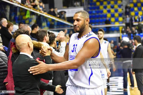 Joy for Boris Diaw of Levallois as his side wins the EuropCup match between Levallois Metropolitans and Cedevita Zagreb at Salle Marcel Cerdan on...