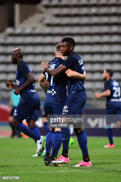 Joy for Dylan Saint Louis of Paris FC as he puts his side 10 ahead from a pass given by Valentin Lavigne of Paris FC during the Ligue 2 match between...