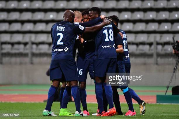 Joy for Dylan Saint Louis of Paris FC as he puts his side 10 ahead during the Ligue 2 match between Paris FC and Nimes on September 29 2017 in Paris...