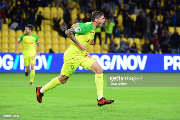 Joy for Emiliano Sala of Nantes as he puts his side 10 ahead during the Ligue 2 match between Paris FC and Nimes on September 29 2017 in Paris France