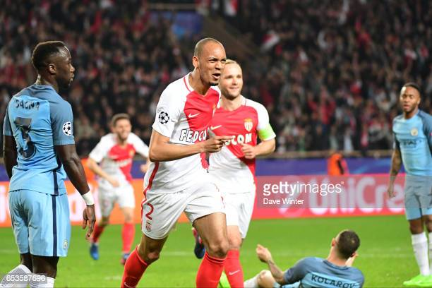 Joy for Fabinho of Monaco as he puts his side 20 ahead during the Uefa Champions League match between As Monaco and Manchester City round of 16...