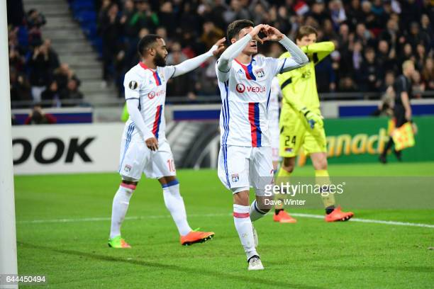 Joy for Houssem Aouar of Lyon as he puts his side 61 ahead during the Europa League match between Olympique Lyonnais and AZ Alkmaar at Stade des...