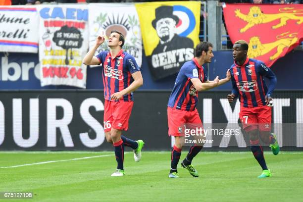 Joy for Ivan Santini of Caen as he pulls the score back to 21 during the French Ligue 1 match between Caen and Marseille at Stade Michel D'Ornano on...