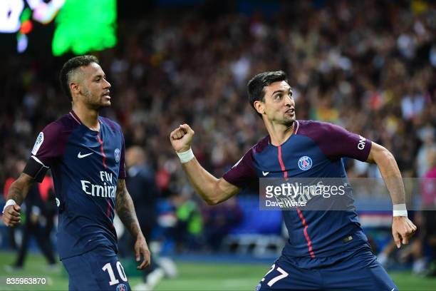 Joy for Javier Pastore of PSG as he puts his side 42 ahead during the Ligue 1 match between Paris Saint Germain and Toulouse at Parc des Princes on...