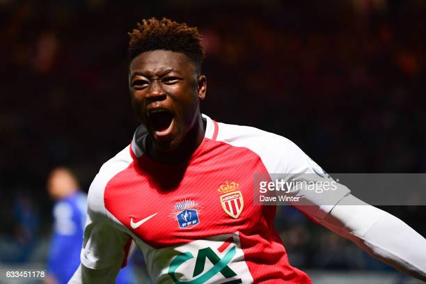 Joy for Kevin Ndoram of Monaco as he puts his side 43 ahead in extra time during the French National Cup match between Chambly and AS Monaco Round of...