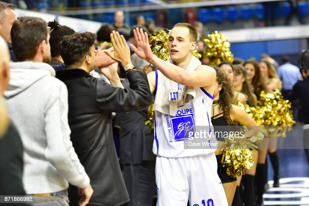 Joy for Klemen Prepelic of Levallois as his side wins the EuropCup match between Levallois Metropolitans and Cedevita Zagreb at Salle Marcel Cerdan...