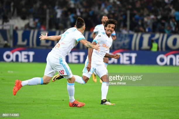 Joy for Luiz Gustavo Dias of Marseille as he fires his side 10 ahead during the Ligue 1 match between Olympique Marseille and Paris Saint Germain at...