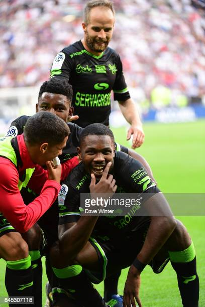 Joy for Marcus Thuram of Guingamp as he equalises during the Ligue 1 match between Olympique Lyonnais and EA Guingamp at Parc Olympique on September...