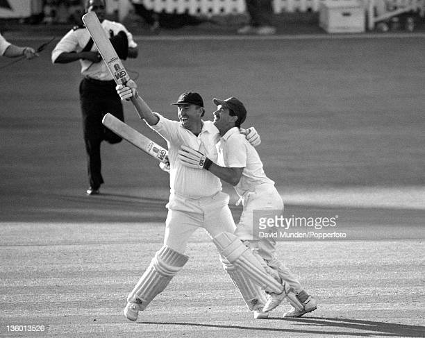 Joy for Nottinghamshire as Eddie Hemmings and Bruce French celebrate their victory over Essex in the Benson Hedges Cup Final at Lord's cricket ground...