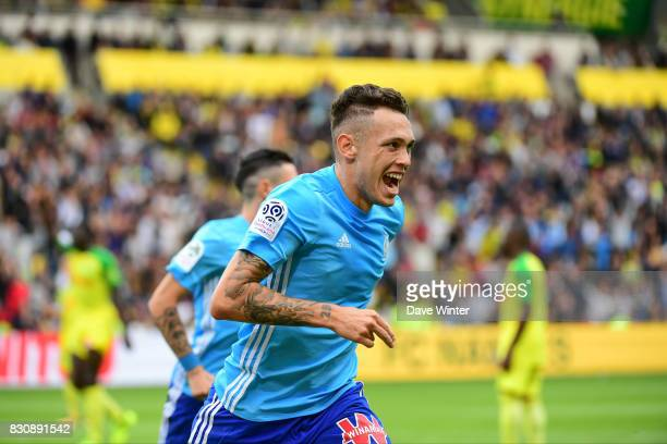 Joy for Ocampos of Marseille as he bundles the ball over the line to put his side 10 ahead during the Ligue 1 match between FC Nantes and Olympique...