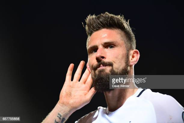 Joy for Olivier Giroud of France as he scores to put his side 31 aheadduring the FIFA World Cup 2018 qualifying match between Luxembourg and France...