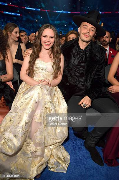 Joy Huerta and Jesse Huerta of Jesse y Joy attend The 17th Annual Latin Grammy Awards at TMobile Arena on November 17 2016 in Las Vegas Nevada