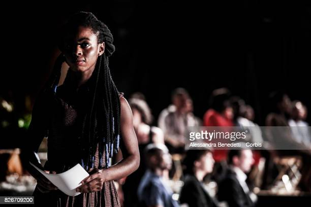 Joy Maso from Nigeria performs AfricaBar stage show on July 31 2017 in Rome Italy Aim of this project was to give asylum seekers a stage for their...