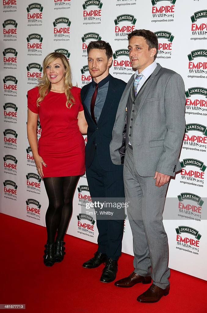 Joy McAvoy, <a gi-track='captionPersonalityLinkClicked' href=/galleries/search?phrase=James+McAvoy&family=editorial&specificpeople=647005 ng-click='$event.stopPropagation()'>James McAvoy</a> and guest attend the Jameson Empire Awards 2014 at the Grosvenor House Hotel on March 30, 2014 in London, England. Regarded as a relaxed end to the awards show season, the Jameson Empire Awards celebrate the film industry's success stories of the year with winners being voted for entirely by members of the public. Visit empireonline.com/awards2014 for more information.