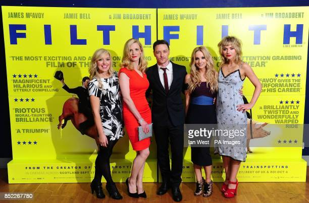 Joy McAvoy Shauna Macdonald James McAvoy Joanne Froggatt and Imogen Poots arrive at the premiere of Filth at the Odeon West End in London