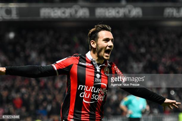 Joy of Anastasios Donis of Nice during the French Ligue 1 match between Nice and Paris Saint Germain at Stade Municipal du Ray on April 30 2017 in...