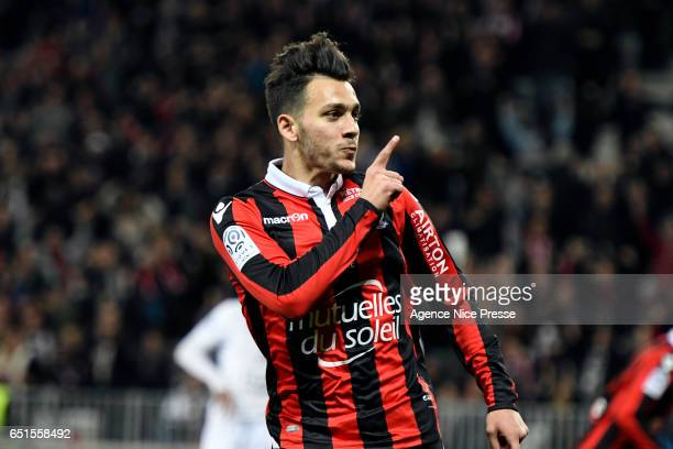 Joy of Anastasios Donis of Nice during the Ligue 1 match between OGC Nice and SM Caen at Allianz Riviera on March 10 2017 in Nice France