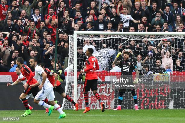 Joy of Benoit Costil of Rennes after stopping the penalty of Alexandre Lacazette of Lyon during the French Ligue 1 match between Rennes and Lyon at...