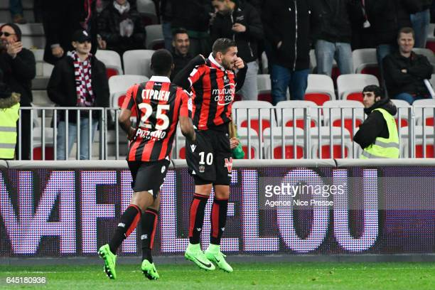 Joy of Mickael Le Bihan and Wylan Cyprien of Nice during the French Ligue 1 match between Nice and Montpellier on February 24 2017 in Nice France