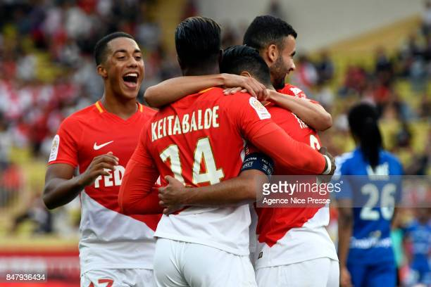 Joy of Monaco Radamel Falcao with Keita BALDE and Rachid GHEZZAL and Youri TIELEMANS during the Ligue 1 match between AS Monaco and Strasbourg at...