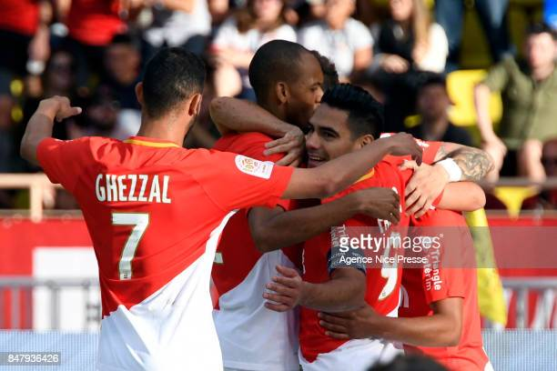 Joy of Monaco Radamel Falcao with Keita BALDE and Rachid GHEZZAL during the Ligue 1 match between AS Monaco and Strasbourg at Stade Louis II on...