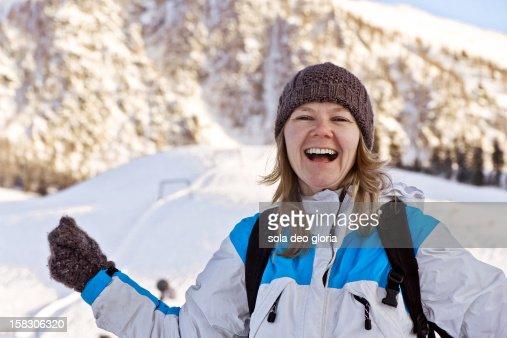 Joy of skiing : Stock Photo