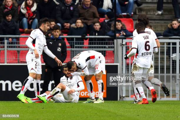 Joy of Valentin Eysseric of Nice after scoring the goal of equalization with Anastasios Donis and Younes Belhanda during the Ligue 1 match between...