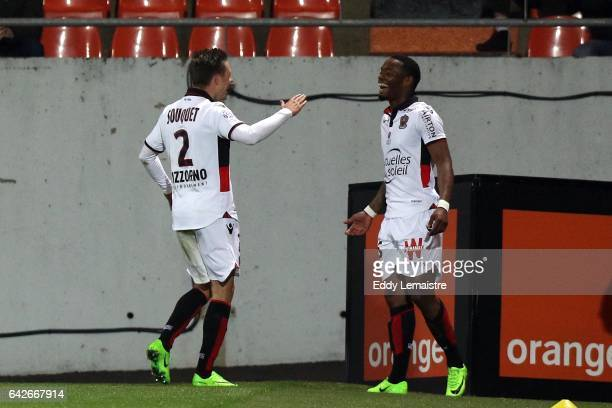 Joy of Wylan Cyprien of Nice after scoring a goal with Arnaud Souquet of Nice during the French Ligue 1 match between Lorient and Nice at Stade du...