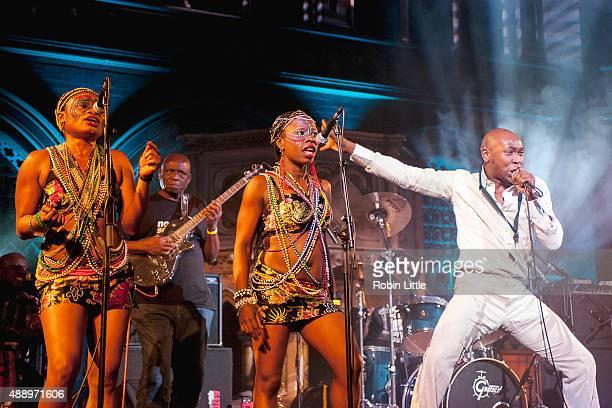 Joy Okara David Obanyedo Iyabo Adeniran and Seun Kuti of Egypt 80 perform at the Union Chapel on September 18 2015 in London England