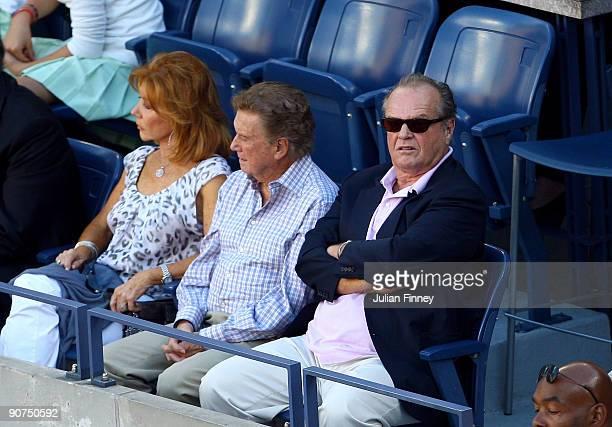 Joy Philbin Regis Philbin and Jack Nicholson watch the match between Roger Federer of Switzerland and Juan Martin Del Potro of Argentina on day...
