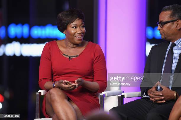Joy Reid and Vincent Warren speak onstage during TIME AND PUNISHMENT A Town Hall Discussion with JAY Z and Harvey Weinstein on Spike TV at MTV...