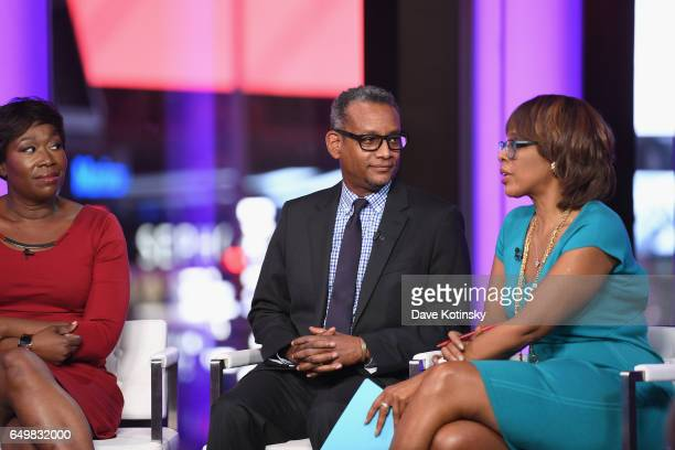 Joy Reid and Vincent Warren speak onstage with Gayle King during TIME AND PUNISHMENT A Town Hall Discussion with JAY Z and Harvey Weinstein on Spike...