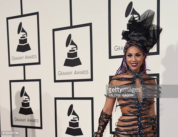 Joy Villa arrives on the red carpet for the 58th Annual Grammy music Awards in Los Angeles February 15 2016 AFP PHOTO/ VALERIE MACON / AFP / VALERIE...