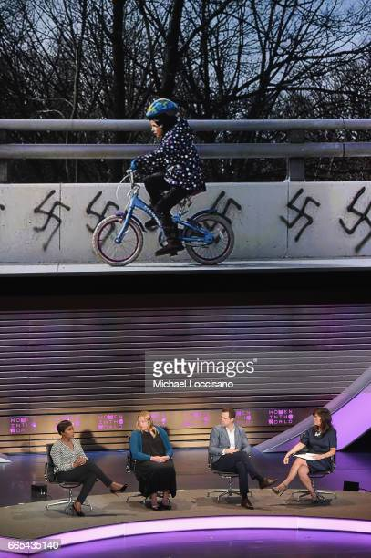 JoyAnn Reid Heidi Beirich Brendan Cox and Juju Chang speak during the Eighth Annual Women In The World Summit at Lincoln Center for the Performing...