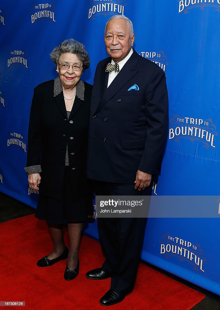 Joyce Dinkins and Former Mayor of New York city <a gi-track='captionPersonalityLinkClicked' href=/galleries/search?phrase=David+Dinkins&family=editorial&specificpeople=171317 ng-click='$event.stopPropagation()'>David Dinkins</a> attends the 'The Trip To Bountiful' Broadway Opening Night after party at Copacabana on April 23, 2013 in New York City.