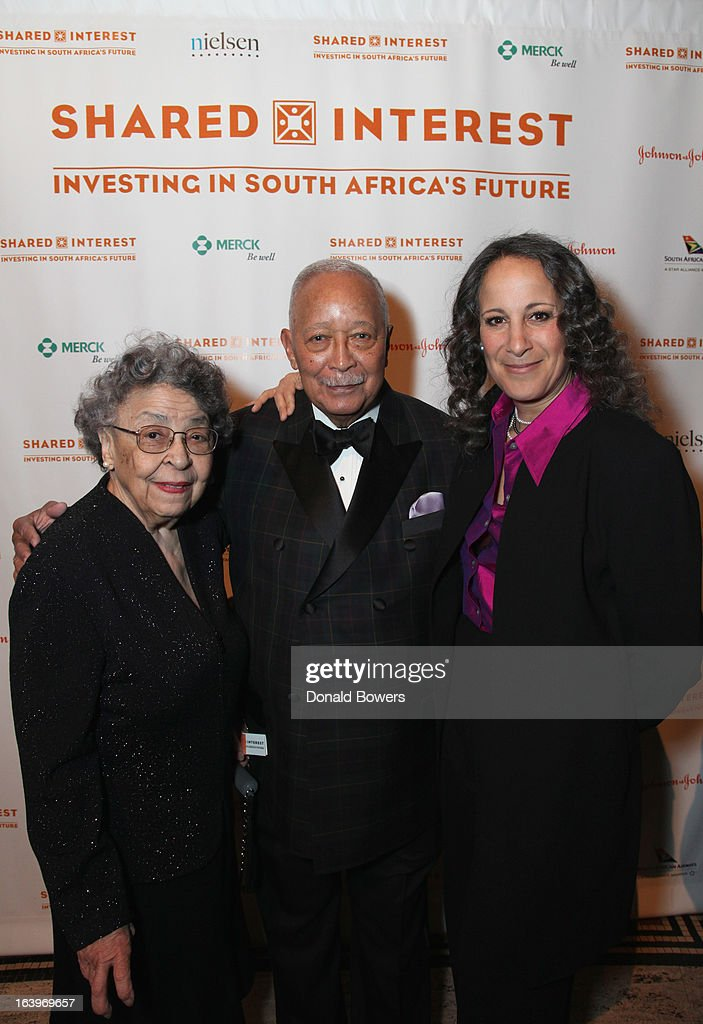 Joyce Dinkins, <a gi-track='captionPersonalityLinkClicked' href=/galleries/search?phrase=David+Dinkins&family=editorial&specificpeople=171317 ng-click='$event.stopPropagation()'>David Dinkins</a>, and Gina Belafonte attend the Shared Interest 19th Annual Awards Gala on March 18, 2013 in New York City.