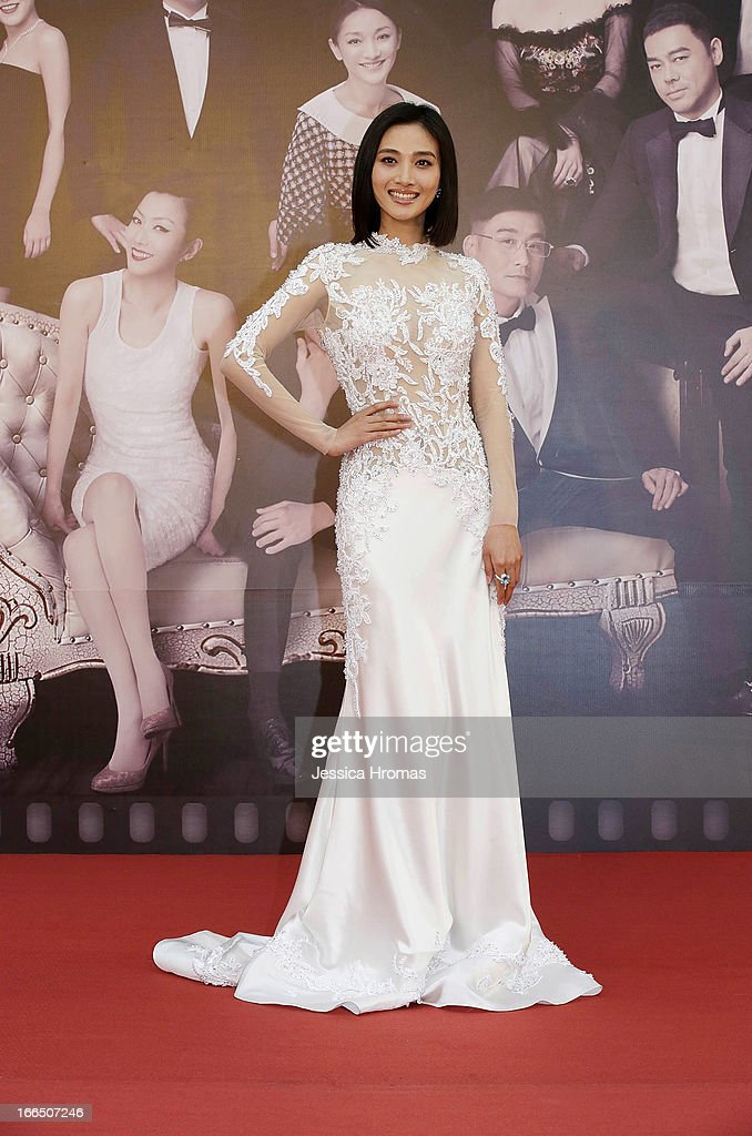Joyce Feng on the red carpet at the 2013 Hong Kong Film Awards on April 13, 2013 in Hong Kong, Hong Kong.