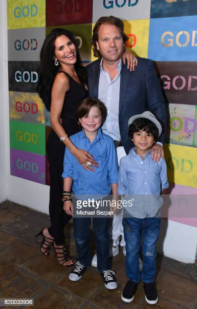 Joyce Gireauds Michael Ohoven and kids arrvie at Val Kilmer's PopUp Art Exhibition 'Icon Go On I'll Go On' VIP Opening Reception at The Gabba Gallery...