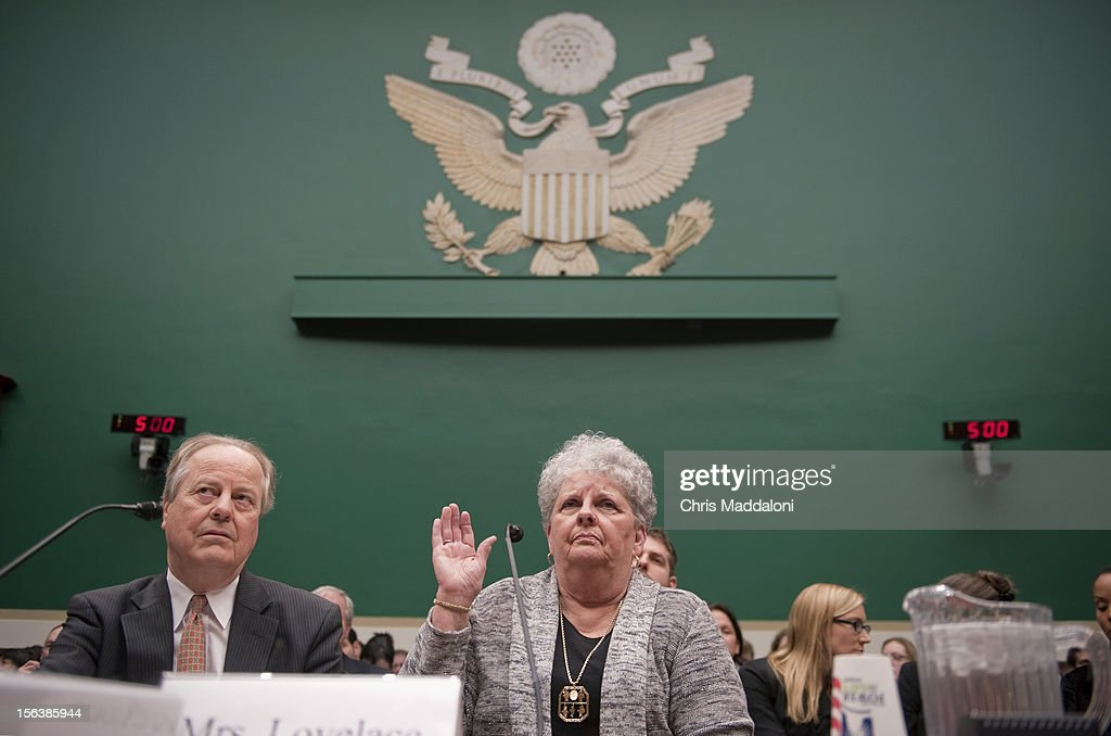 Joyce Lovelace, the wife of a meningitis victim, is sworn-in at a House Energy and Commerce Oversight subcommittee hearing on 'The Fungal Meningitis Outbreak: Could It Have Been Prevented?'