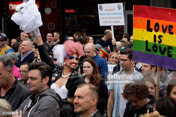 Joyce Maynge joins large crowds at Taylor Square in support of Marriage Equality on May 31 2015 in Sydney Australia They are specifically calling on...