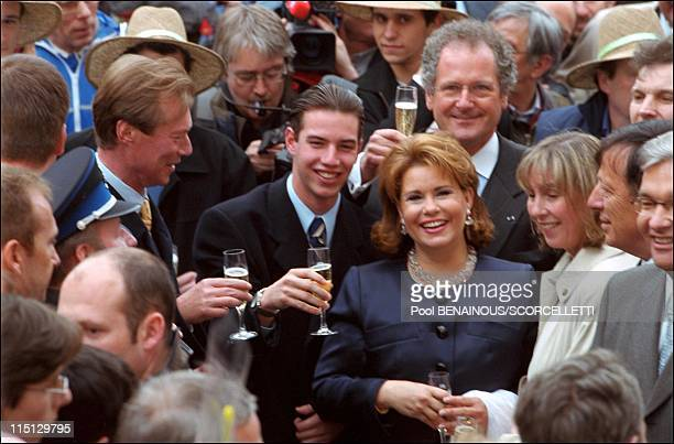 Joyeuse Entree Festivities for the Grand Duke Henri and Grand Duchess Maria Teresa in Luxembourg city Luxembourg on April 06 2001 Grand Duke Henri...