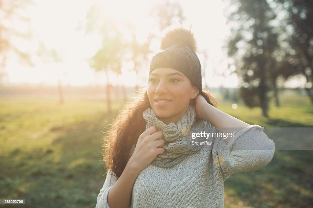 Joyful by the sunny autumn